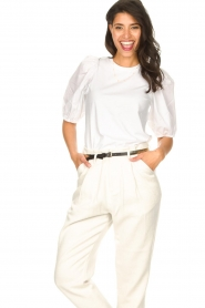 Set |  Cotton top with puff sleeves Rhode | white  | Picture 4