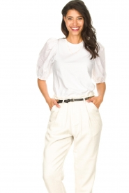 Set |  Cotton top with puff sleeves Rhode | white  | Picture 2