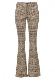 Liu Jo |  Pied-de-poule flared pants | brown   | Picture 1