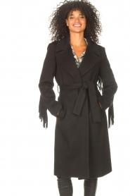 Liu Jo |  Woolen coat with fringes Zara | black   | Picture 4