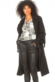Liu Jo |  Woolen coat with fringes Zara | black   | Picture 5