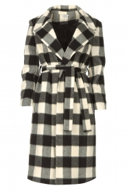 Liu Jo |  Woolen coat with fringes Zara | black & white  | Picture 1