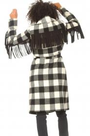 Liu Jo |  Woolen coat with fringes Zara | black & white  | Picture 8