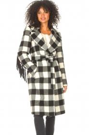 Liu Jo |  Woolen coat with fringes Zara | black & white  | Picture 5