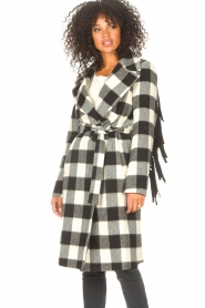 Liu Jo |  Woolen coat with fringes Zara | black & white  | Picture 6
