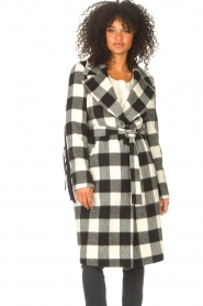 Liu Jo |  Woolen coat with fringes Zara | black & white  | Picture 2