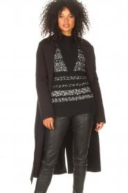 Liu Jo |  Cloak coat with tie waist belt Joy | black  | Picture 7