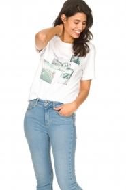 Set | Katoenen T-shirt met opdruk Roos | wit   | Afbeelding 4