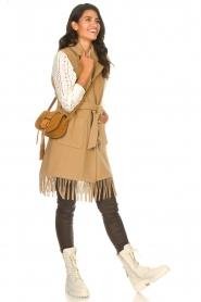 Liu Jo |  Woolen waistcoat with fringes Karla | camel  | Picture 3