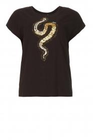 Liu Jo |  Cotton T-shirt with sequins | black  | Picture 1