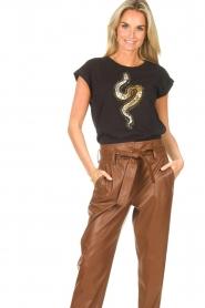 Liu Jo |  Cotton T-shirt with sequins | black  | Picture 2