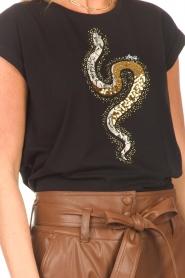 Liu Jo |  Cotton T-shirt with sequins | black  | Picture 7