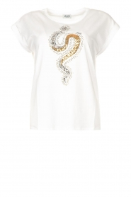 Liu Jo    Cotton T-shirt with sequins   white    Picture 1