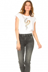 Liu Jo    Cotton T-shirt with sequins   white    Picture 4