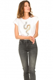 Liu Jo    Cotton T-shirt with sequins   white    Picture 5