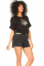 Set |  Jeans short with ribbed details Isis | black  | Picture 4