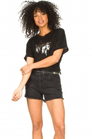 Set |  Jeans short with ribbed details Isis | black  | Picture 2