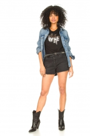 Set |  Jeans short with ribbed details Isis | black  | Picture 3