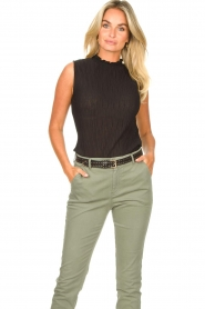 Set |  Sleeveless top with crêpe effect Didi | black  | Picture 2