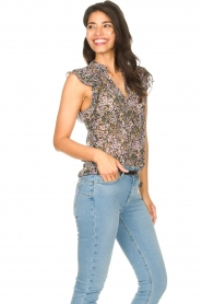 Set :  Floral ruffle top Riva | black - img5