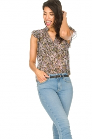 Set :  Floral ruffle top Riva | black - img4