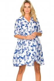 Genesis |  Dress with print Ema | white  | Picture 2