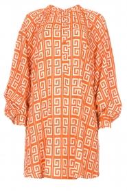 Genesis |  Dress with graphic print Sofia | orange  | Picture 1