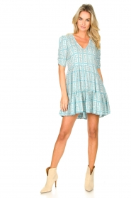 Genesis :  Dress with graphic print Kelly | blue - img3