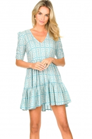 Genesis :  Dress with graphic print Kelly | blue - img2