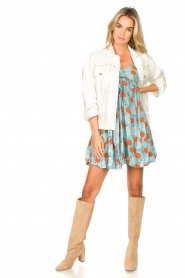 Genesis |  Dress with floral print Julia | blue  | Picture 3
