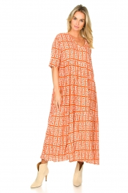 Genesis :  Maxi dress with graphic print Luih | red - img5