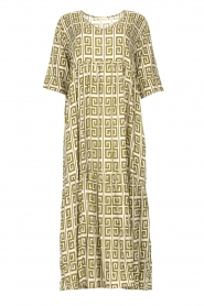 Genesis |  Maxi dress with graphic print Luih | green  | Picture 1