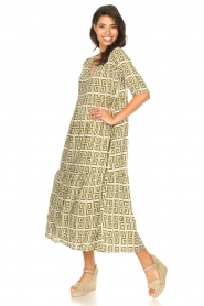 Genesis |  Maxi dress with graphic print Luih | green  | Picture 2