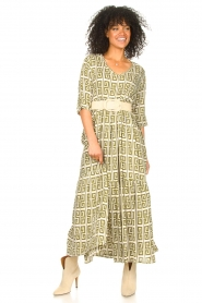 Genesis :  Maxi dress with graphic print Luih | green - img2
