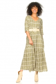 Genesis :  Maxi dress with graphic print Luih | green - img3