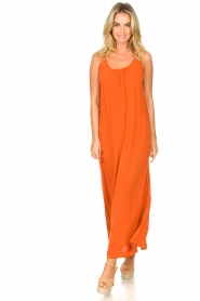 Genesis |  Maxi dress with crêpe fabric Melia | orange  | Picture 2