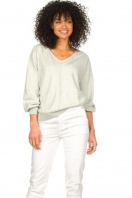 JC Sophie |  Cotton sweater with puff sleeves Gitana | grey  | Picture 2