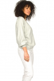 JC Sophie |  Cotton sweater with puff sleeves Gitana | grey  | Picture 4