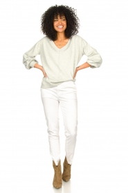 JC Sophie |  Cotton sweater with puff sleeves Gitana | grey  | Picture 3