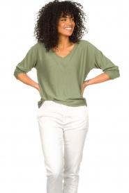JC Sophie | Katoenen trui Ginger | groen   | Afbeelding 2