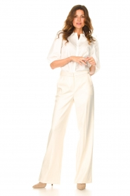 Dante 6 |  Cotton blouse with puff sleeves Vernon | white  | Picture 3