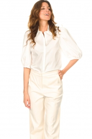 Dante 6 |  Cotton blouse with puff sleeves Vernon | white  | Picture 5