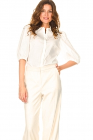 Dante 6 |  Cotton blouse with puff sleeves Vernon | white  | Picture 4