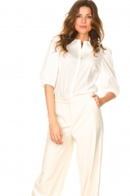 Dante 6 |  Cotton blouse with puff sleeves Vernon | white  | Picture 2