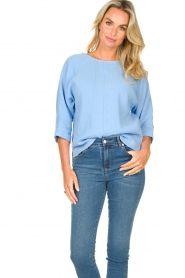 JC Sophie |  Cotton blouse with creased effect Gilda | blue  | Picture 3