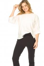 JC Sophie | Katoenen blouse met gekreukeld-effect Gilda | wit   | Afbeelding 2