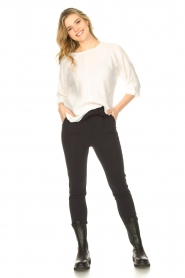 JC Sophie |  Cotton blouse with creased effect Gilda | white  | Picture 3