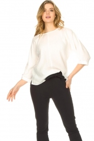 JC Sophie |  Cotton blouse with creased effect Gilda | white  | Picture 4