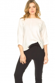 JC Sophie |  Cotton blouse with creased effect Gilda | white  | Picture 5
