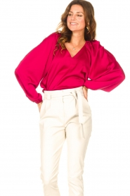 Dante 6 |  Blouse with v-neck Sue | pink  | Picture 4
